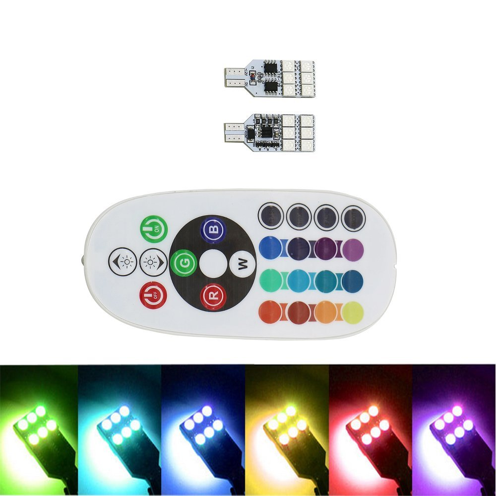 LED Atmosphere lights T10 RGB 12SMD 5050 With Remote Controller width lamp Strobe lights Reading Wedge Side Lamp