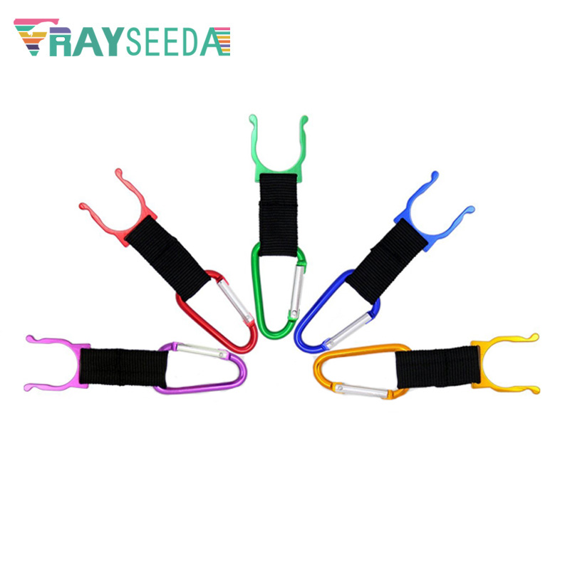 Rayseeda 100pcs lot Camping Carabiner Water Bottle Holder Buckle Bag Hanging Buckle Hook Clip Aluminium Alloy