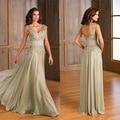New Vestido de madrinha 2016 Elegant Cap Sleeve A-Line V-Neck Appliques mother of the bride dresses Long Plus size Prom Dresses