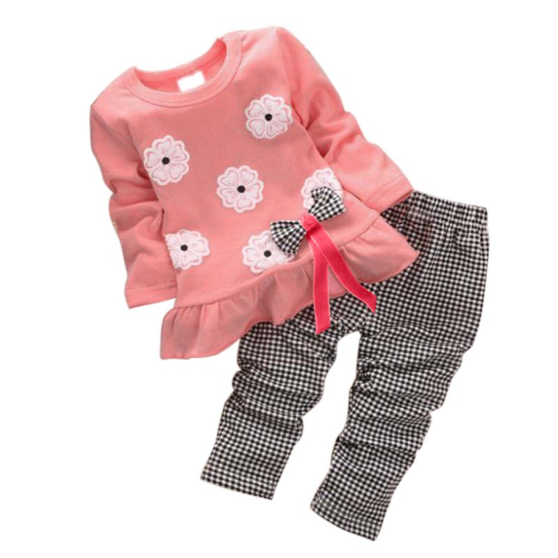2Pcs Kids Baby Girl Minnie Clothes Sets Pullover Bow Tops Plaids Checks Pants Outfits Set Wholesale