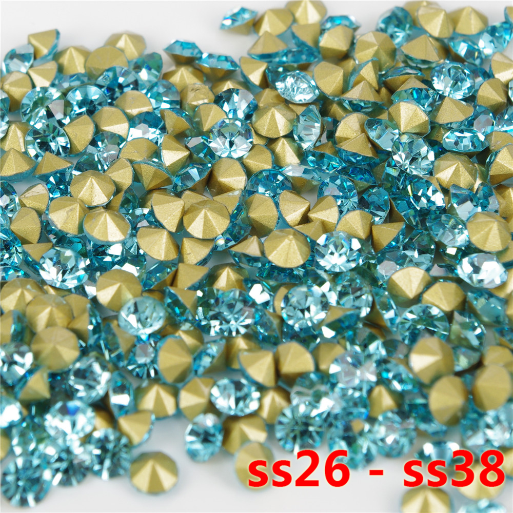 250 pieces per pack ss26-ss38 AQUAMARINE glass chaton rhinestones round pointback loose beads for jewelry decoration use