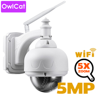 OwlCat Wireless IP Camera Wifi Dome PTZ Outdoor Cam with Microphone Speaker Two Way Audio Talk HD 5MP 2MP 5X Zoom SD Card Slot