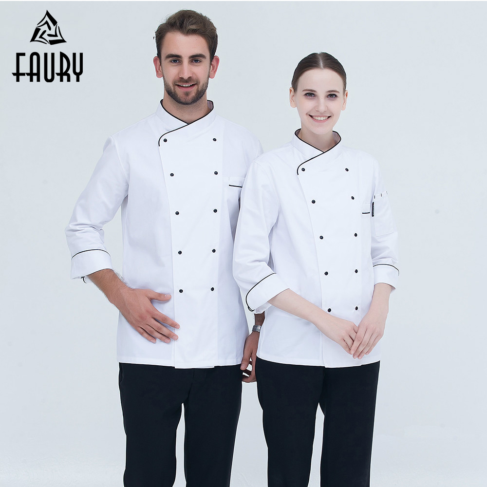 Chef Uniforms Long-sleeved Double Breasted Oblique Collar Kitchen Bakery Restaurant Cooking Workwear Chef Jacket White M-3XL
