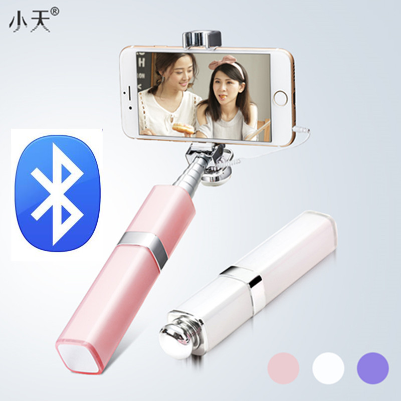 Prix pour Ulanzi mini rouge à lèvres style filaire/sans fil bluetooth selfie bâton pour iphone 6/6s samsung android ios smartphones d'anniversaire cadeau
