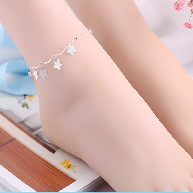 1PC Hot Summer Butterfly Style Beach Ankle Infinite Silver Color Foot Jewelry Anklets ankle bracelets for