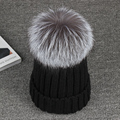 Fox Fur Pompon Benaie 2016 Winter 100% Real 15cm Silver Fox Hats For Women Warm Knitted High Quality Hat Female Skullies Beanies