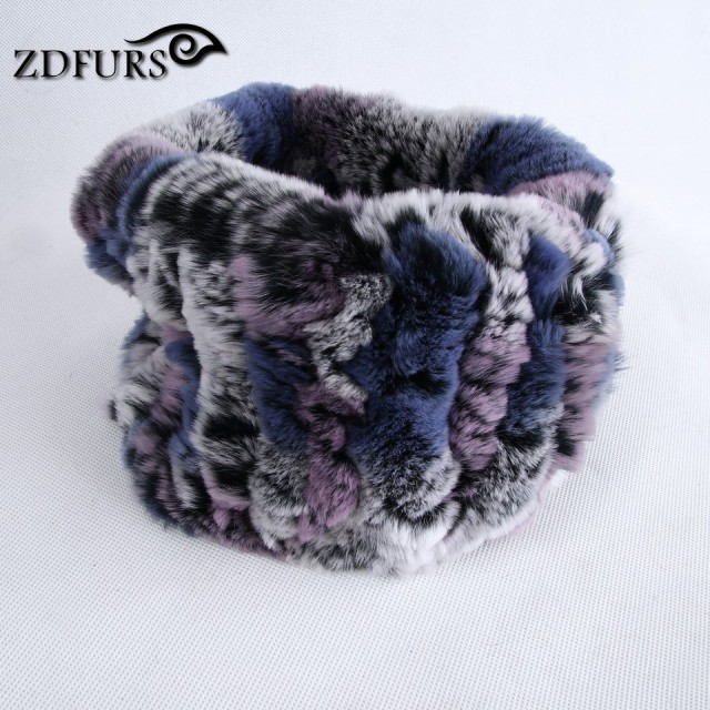 ZDFURS * Women fashion fur Scarf rabbit knit scarves Warm fur headband neckwarmer