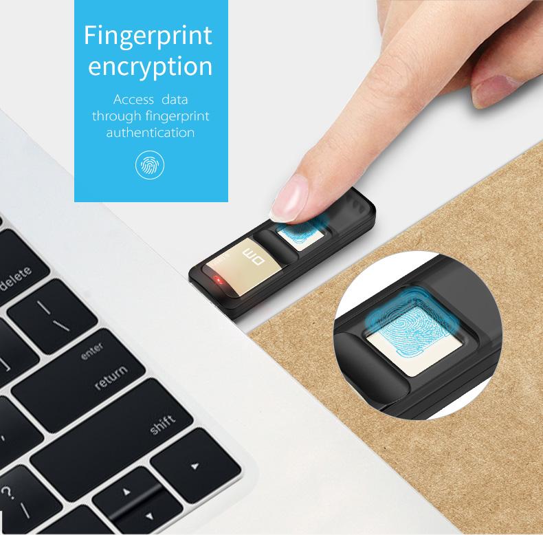 Clé USB biométrique cryptée à reconnaissance d'empreintes digitales