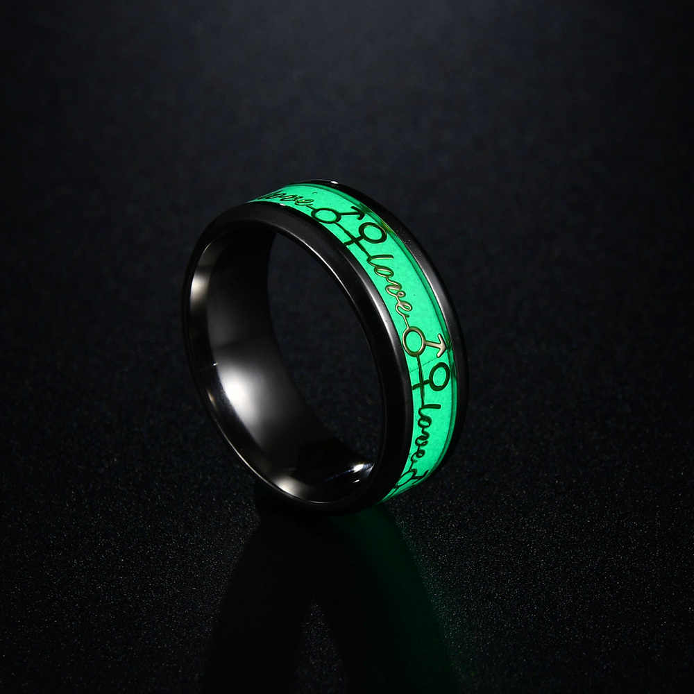 MMS Classic Luminous แหวนผีเสื้อ/Skull/ดนตรีหมายเหตุ/ECG การออกแบบรูปแบบพื้นหลังสีเขียวเรืองแสงแหวนเรืองแสง