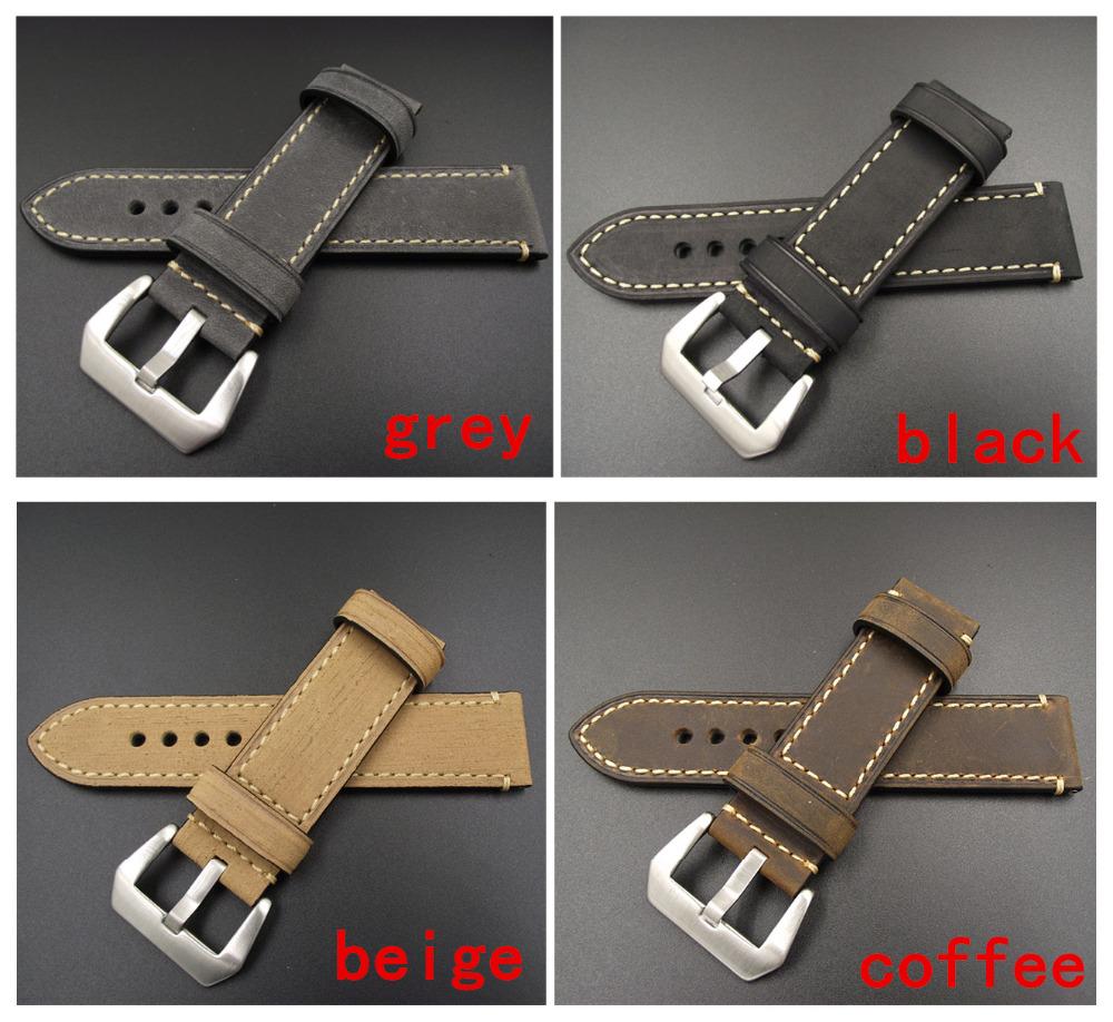 Prix pour 1 PCS 20 MM 22 MM 24 MM 26 MM véritable en cuir Fou cheval en cuir bande de montre bracelet de montre homme montre bretelles noir café gris-WB12075