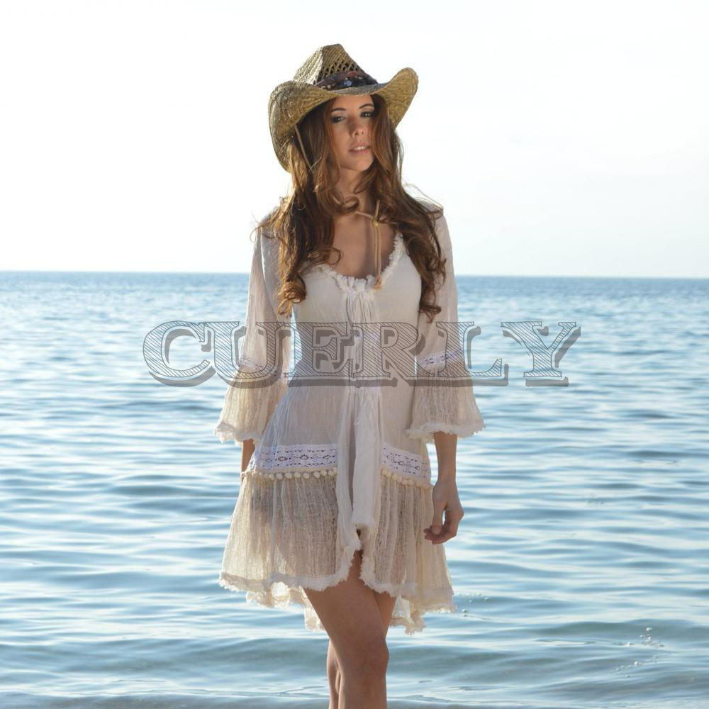 Jolie robe bohème vintage manches évasées robe en dentelle blanche femmes drapées bohême décontracté Sexy broderie robe rétro Vestidos L8