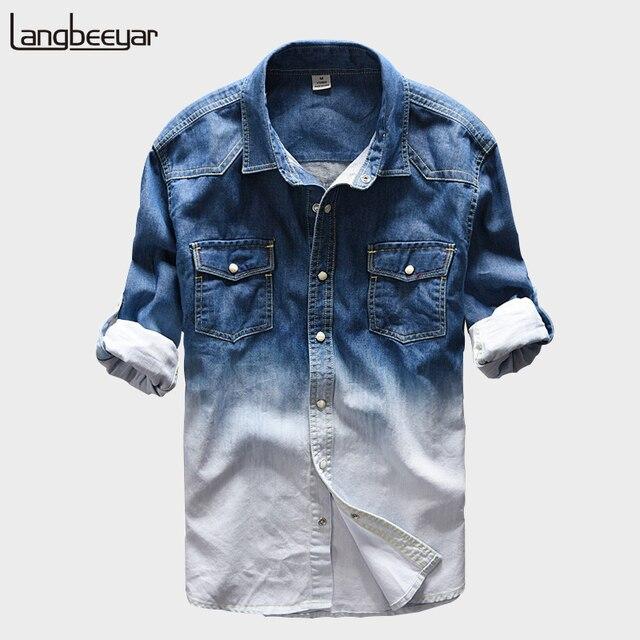 2018 Новая модная брендовая одежда джинсовая рубашка Для мужчин с длинным рукавом Градиент Цвет рубашка узкого кроя несколько карманов мужская одежда Рубашки для мальчиков