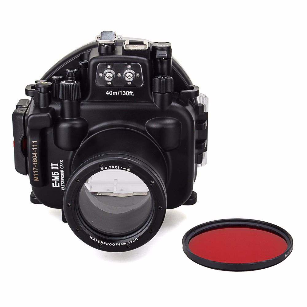 Meikon 40M/130ft Waterproof Underwater Camera Housing Diving Case for Olympus E-M5 II Can Be used with 12-50mm Lens+ Red Filter meikon 40m 130ft underwater camera diving housing for canon eos m5 22mm lens