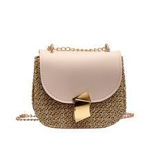 Straw Shoulder Bag Small Flap Crossbody for Women Woven Bag Female Retro Beach Bolsos Rattan Bag Chain Wicker Bolsa Feminina J3