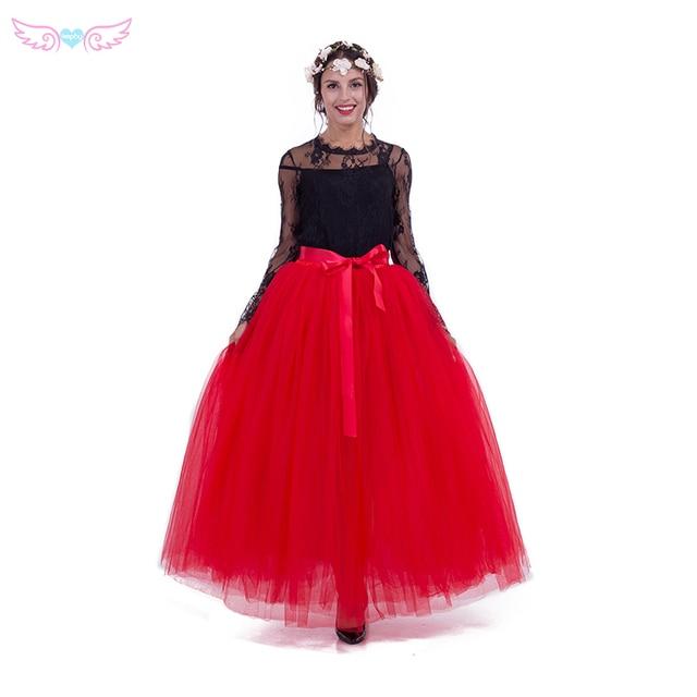 dbe20d83c645 Kephy 7 couches 100 cm longue rouge maxi femmes tulle jupe de mariage jupe  tutus jupe