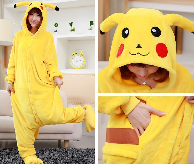 High quality Adult Child Pikachu Costumes Onesie Unisex Animal Cosplay Costume Pokemon Pikachu Pyjamas Hoodie Pajama Pijama