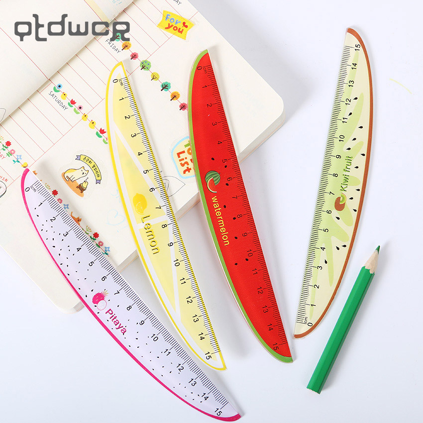 1pc 15cm 6 inches Stationery Fruit Shape Cartoon Plastic Ruler Student Gift