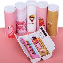 Estuche de lápices creativity, caja de bolígrafos de doble capa con espejo, calculadora, bolígrafo de pizarra, limpiador para útiles escolares, estuche cosmético Kawaii