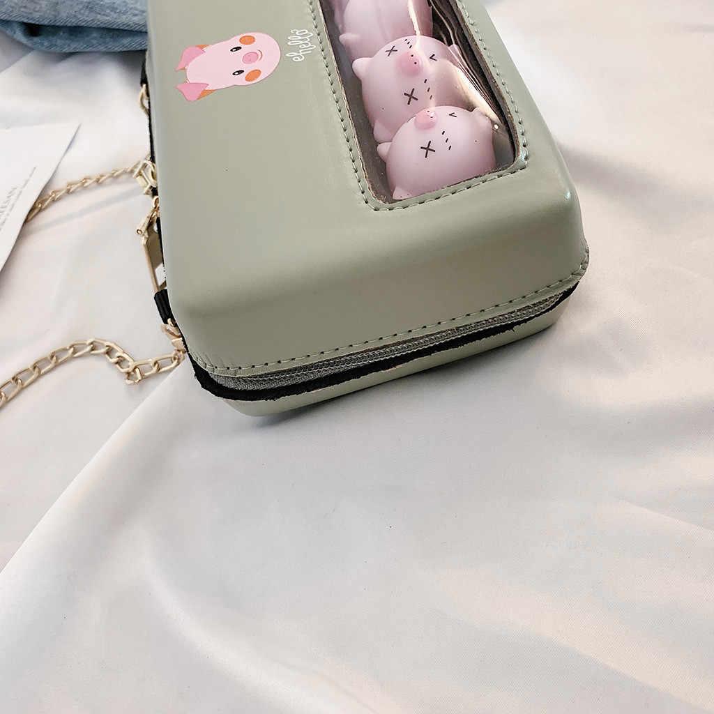 Kadın Çanta Küçük Taze Şeffaf Sevimli Domuz Omuz Zincir Vahşi Messenger torebki damskie çanta kadınlar için 2019 schoudertas dames