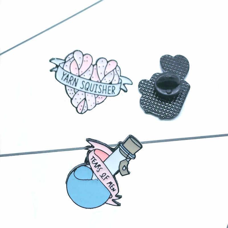 3 Gaya Kekuatan Sihir Enamel Pin Jantung Air Mata Cup Bros Kerah Pin Denim Kemeja Jeans Tas Kartun Perhiasan Hadiah untuk teman
