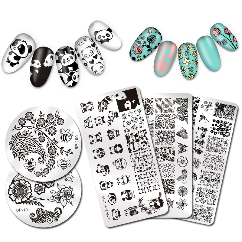 BORN PRETTY font b Nail b font Stamping Plate Animal Plant Cute Cat Flower Design font