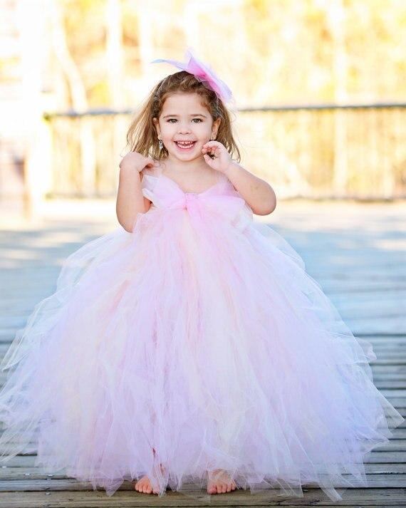 Новые Аппликации Длинные Платья девушки Цветка Для свадьбы 2017 Розовый Бальное платье Тюль Цветы Ребенок Платье Принцессы Vestidos De Comunion
