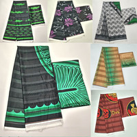 Hot sale Gahna Style satin silk fabric with organza ribbon African wax design ! J71401