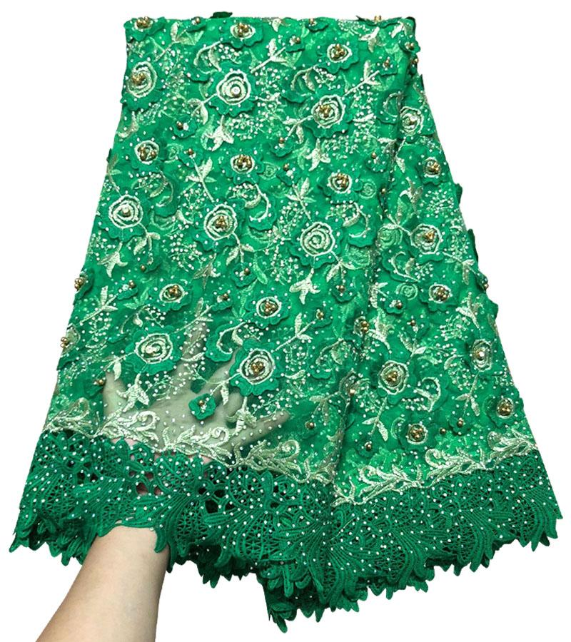 2018 New arrival Green color Guipure African Lace Fabric Tulle Rhinestone French Net Lace High Quality