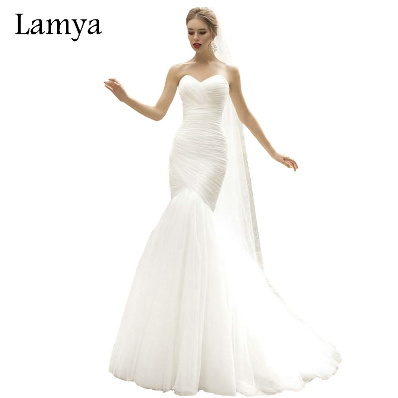 LAMYA Real Photo White Mermaid Wedding Dress Top Sale Simple Vintage ...