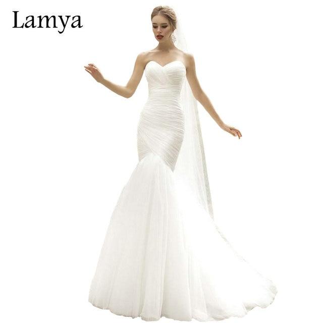 Lamya Real Photo Weiß Meerjungfrau Brautkleid Top Verkauf Einfache ...