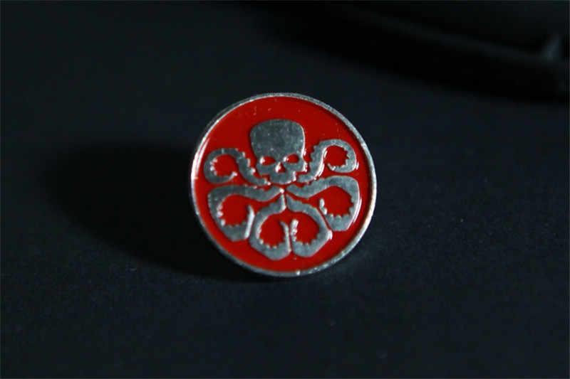 ניו נוקמי SHIELD סוכנים של מגן. תג וברד הידרה פין אדום גולגולת מתכת סיכת סיכת תג תג הנצחה הידרה