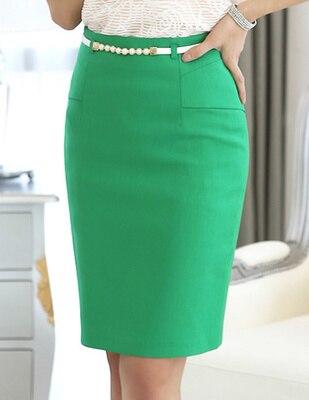 2015 nueva Formal mujer falda de ropa de trabajo alta cintura hasta la  rodilla mujer de talla grande de la cadera delgada falda tubo verde c0e1146995da