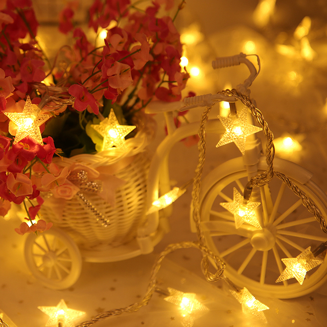 valentines day new year light string outdoor led star pearly string fairy christmas lights wedding decorations
