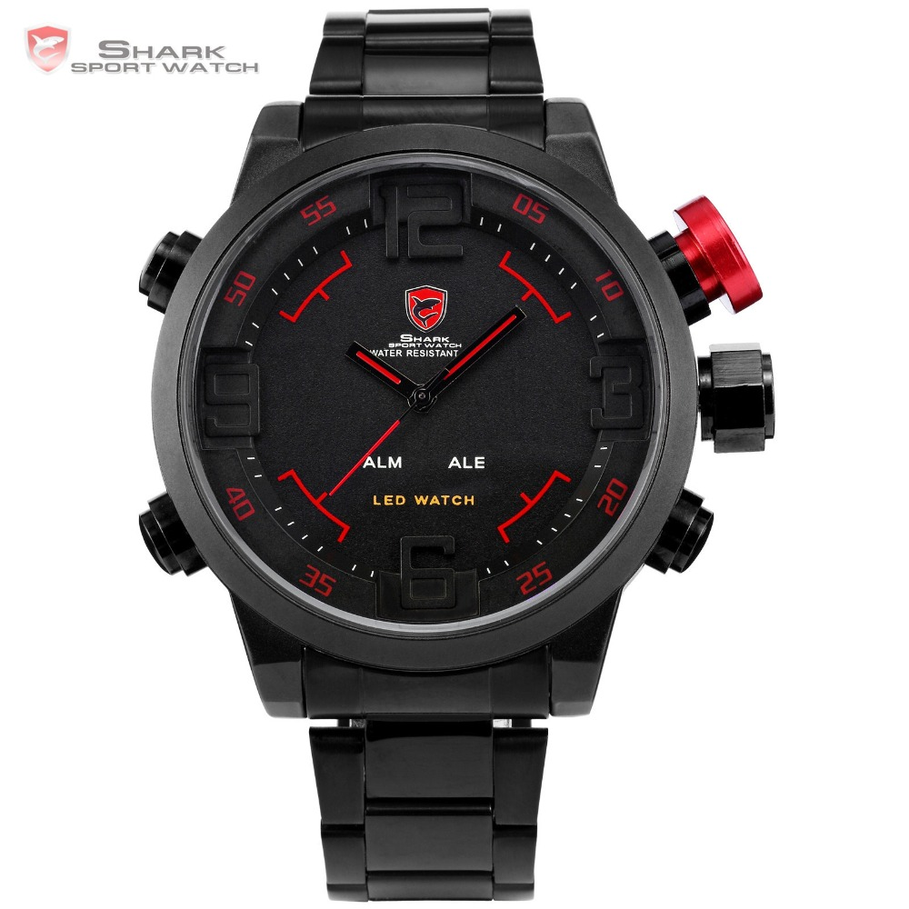 SHARK Sport Watch Brand Digital Dual Time Day LED Black Red Men Wristwatches Full Steel Strap Tag Relogio Military Clock / SH105 все цены