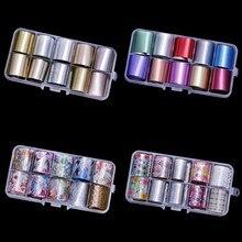 10Pcs 1M Nail Art Transfer Foil Holografic Silver Gold Color Manicure DIY 3D Design Wrap Decor Trendy Stickers Decal NZ0614
