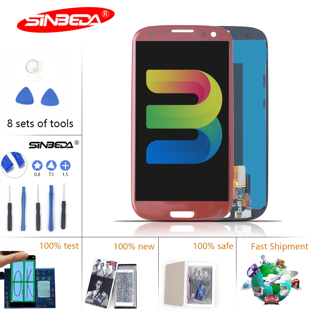 4.8 Sinbeda Super AMOLED LCD For SAMSUNG GALAXY S3 Touch Screen Digtizer with Frame Galaxy i9300 Display i9305