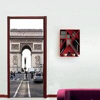 グレーパリ凱旋門ドアステッカークラシック建築家の装飾壁デカールステッカーアート