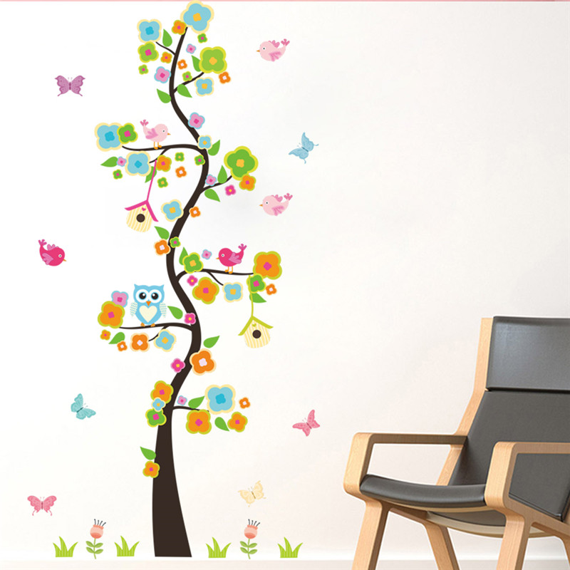 Garden Flower Tree Branches Owl Bird Wall Sticker Decal Bedroom Living Room Wall Art Home Decor kindergarten Poster Mural