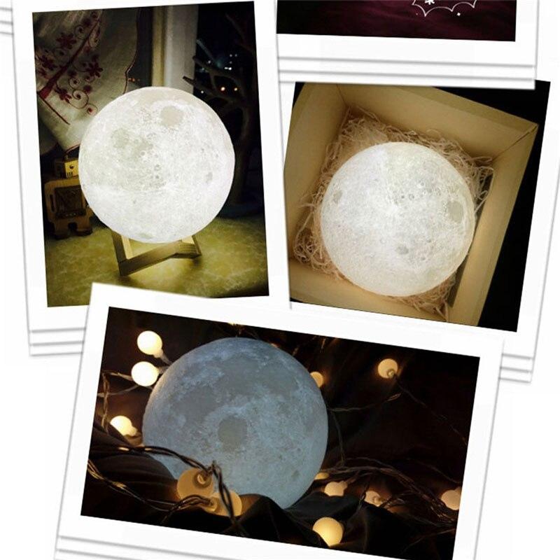3D Luna Lampada USB Luce di Notte Regalo Tre Cambiamento di Colore del Legno Con Il Supporto Luces LED Decoracion Lampada Led
