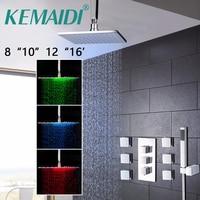 KEMAIDI Badkamer 8 10 12 16 inch LED Chrome Douchekraan Set Thermostatische Mengkraan W/6 Bericht Jets Douche Set