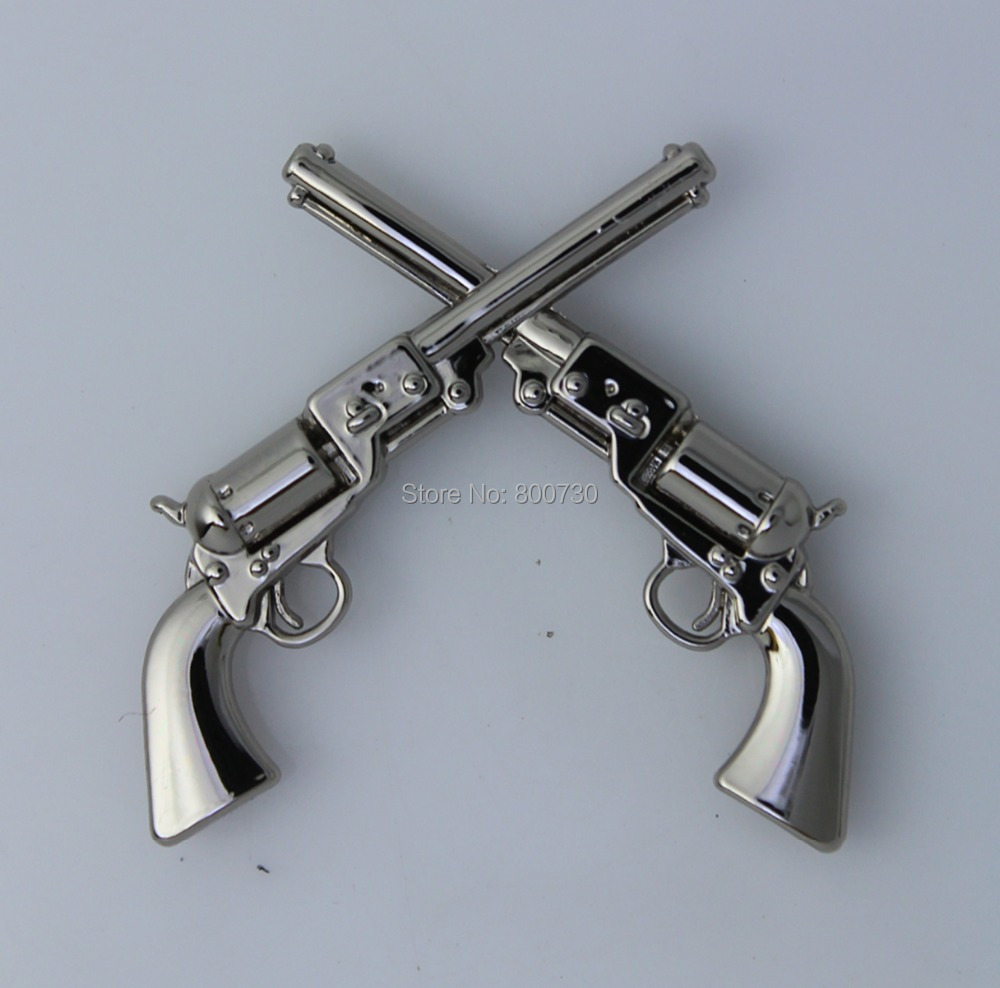 "(KB401) 50pc 1-1 / 2 ""Western Concho Cowboy Decor Crossed 1861 Colt Revolver Pistols Silver"