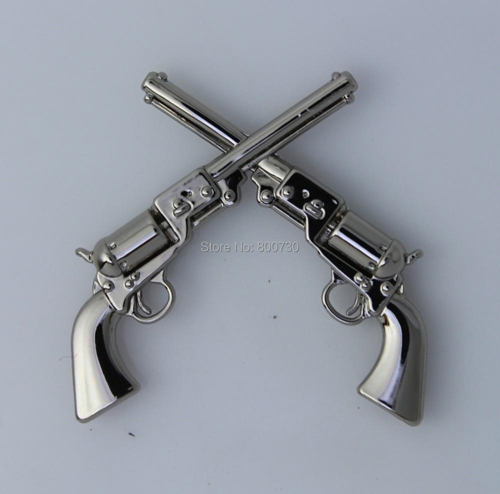 """(KB401) 50 pc 1 1/2 """"서양 콘쵸 카우보이 장식 1861 콜트 리볼버 권총 실버-에서단추부터 홈 & 가든 의  그룹 1"""