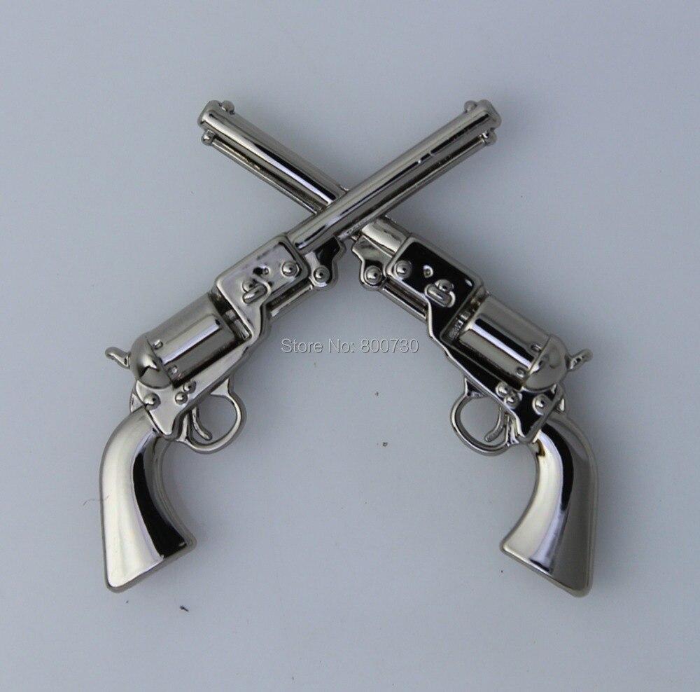 """(KB401) 50 pz 1 1/2 """"Occidentale Concho Cowboy Decor Crossed 1861 Colt Revolver Pistole Argento-in Bottoni da Casa e giardino su  Gruppo 1"""