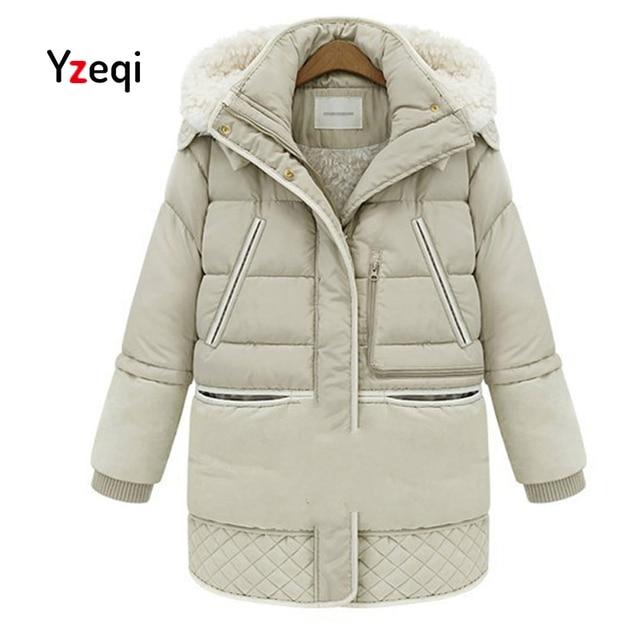 100930c7a714 Yzeqi 2018 New Winter Jacket Women Coats Plus Size 3xxl Thick Cotton Coat  Hooded Wool Lining Warm Black Jacket Parka Outwear