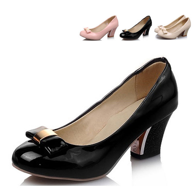 2015 Fashion Chunky Heel Butterfly Shoesround Toe 2 Inch Heels Butterfly Womens Shoessize 4 High Heels Chunky Heel Pumps