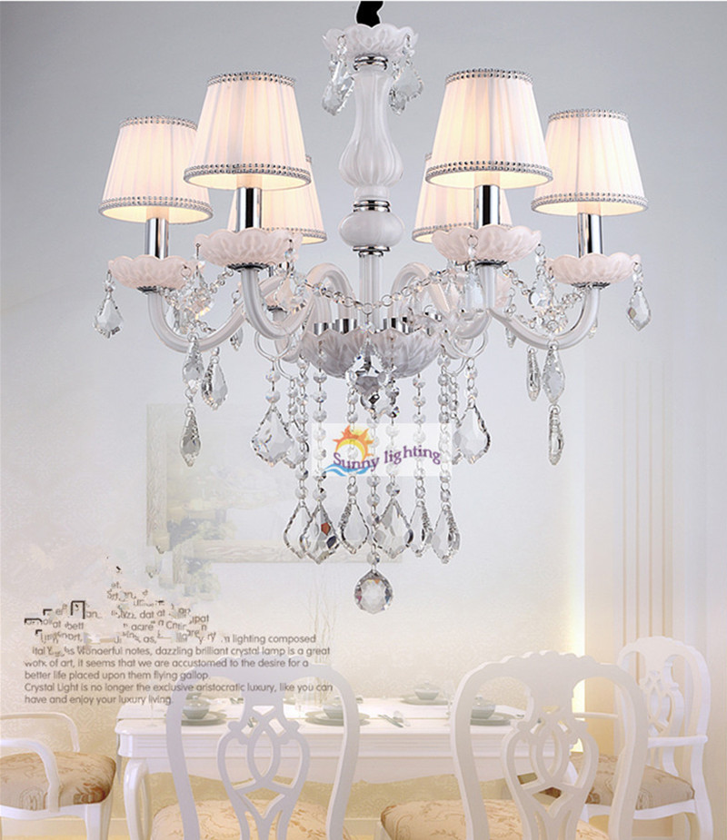 bedroom White glass chandelier led crystal lighting with pink lampshade 6 candle hanging lighting foyer wedding kids chandelier restaurant white chandelier glass crystal lamp chandeliers 6 pcs modern hanging lighting foyer living room bedroom art lighting