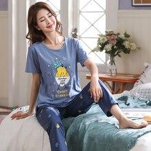 Spring Women Pajamas Short Sleeve Pijama Female Pajama Set 5XL Pyjamas Cotton Pajamas For Women Slee