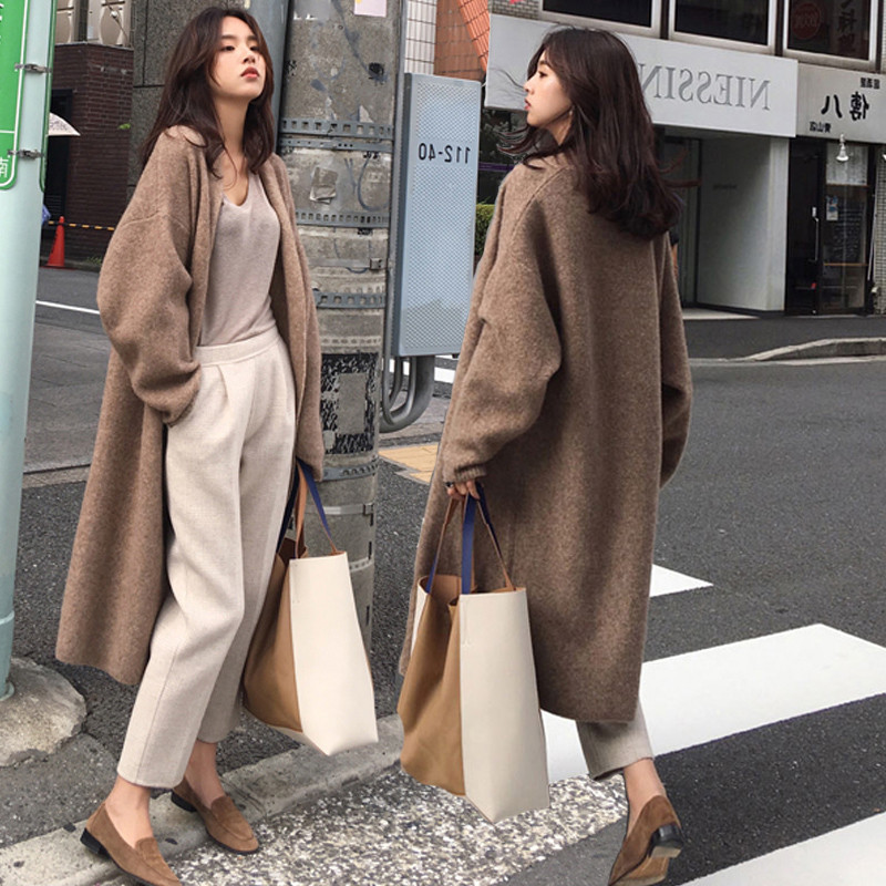 Осень зима Для женщин свитер Модные свободные Повседневное негабаритных свитера джемперы с длинным рукавом длинный кардиган шикарный шерстяной вязаный пальто