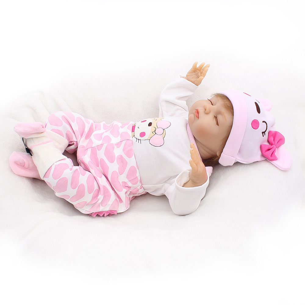soft Silicone Reborn Baby Menina Alive 19'' Pink Loli Lucy Newborn Baby Dolls stuffed cotton body toy Comfortable 100% Non-toxic аккумулятор xdream x loli 2800mah pink