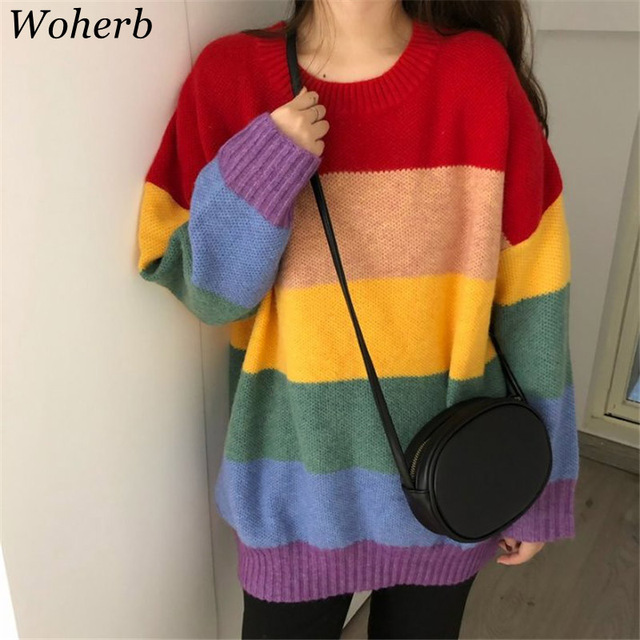 988e1473b64 Woherb Plus Size Autumn Rainbow Sweater Women Harajuku Jumper Ladies  Striped Oversized Sweaters Korean Vintage Streetwear 20585